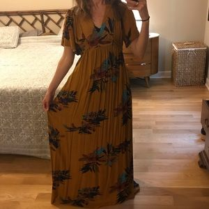 Everly Dresses - Everly Rust Colored Floral Tie-back Maxi Dress